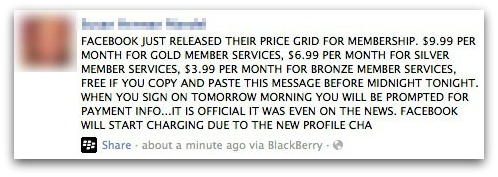 False Facebook price grid message
