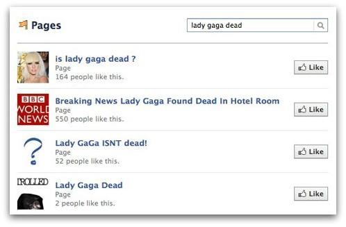 Lady Gaga is dead? Facebook scam