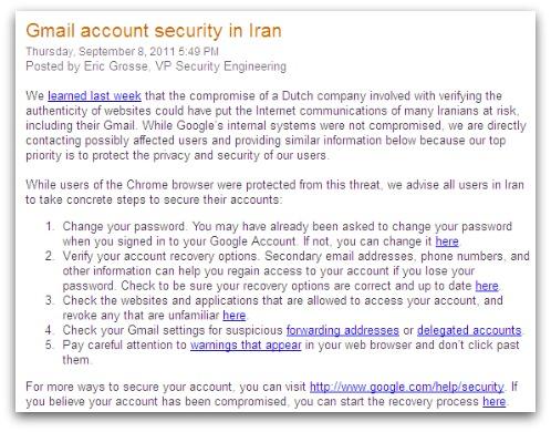 Screenshot of Google blog post