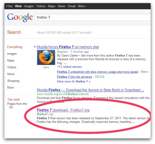 Google search result for Firefox 7