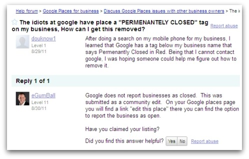 Exchange on Google's Help forum