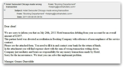 Hotel malicious email