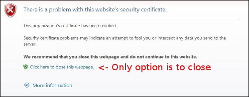 IE revoked certificate block