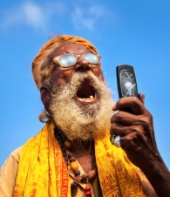 Indian man using a mobile