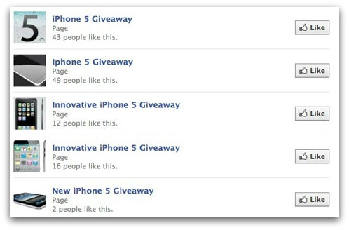 iPhone 5 giveaway pages on Facebook