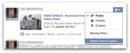 Remove Hurricane Irene Facebook clickjacking scam