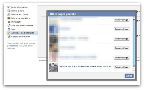 Unlike Hurricane Irene Facebook clickjacking scam