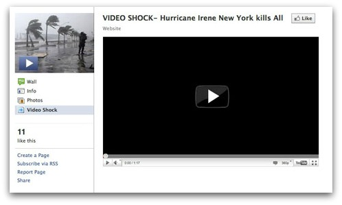 Hurricane Irene Facebook clickjacking scam