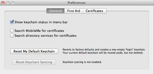 Keychain preferences