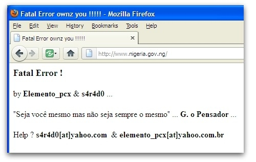 Defaced Nigerian government website