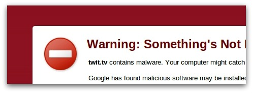Warning via Google Chrome
