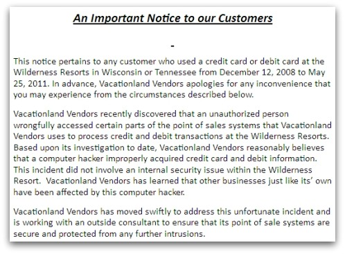 Statement from VacationLand Vendors
