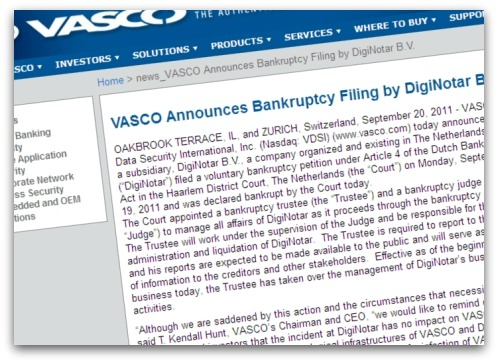 Vasco announcement of DigiNotar bankruptcy filing