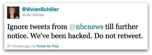 Tweet from Vivian Schiller