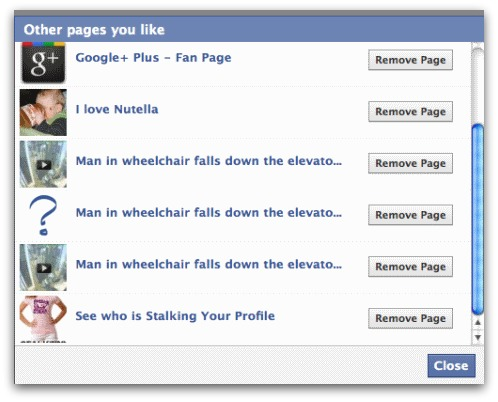 Remove page from your list of likes