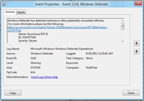 Windows Defender event log on Windows 8