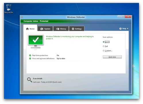 Windows Defender running on Windows 8