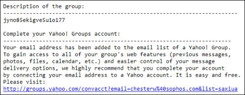 Yahoo! Groups spam invitation