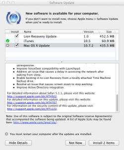 OS X Lion 10.7.2 update