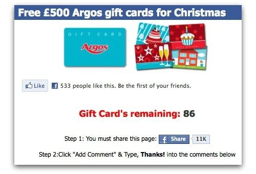 Argos Facebook scam