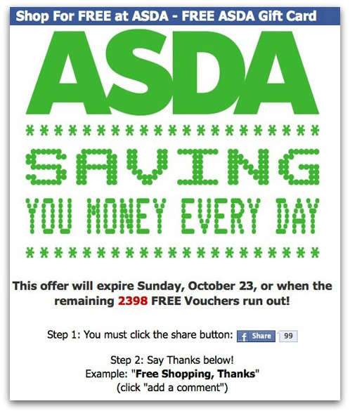 Shop for free at ASDA Facebook scam