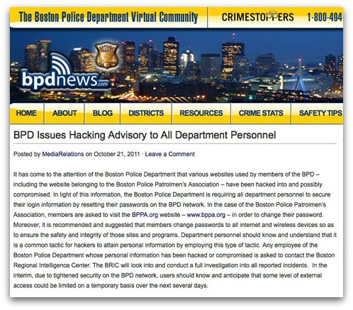 Boston police hacking advisory