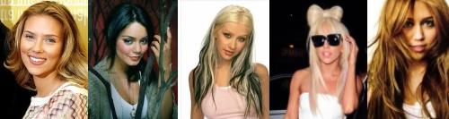 Scarlett Johansson, Vanessa Hudgens, Christina Aguilera, Lady Gaga, Miley Cyrus