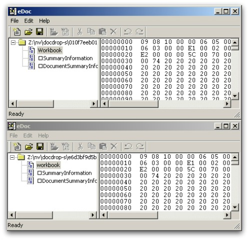Differences between malware samples