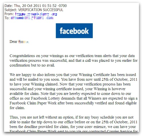 Facebook lottery email