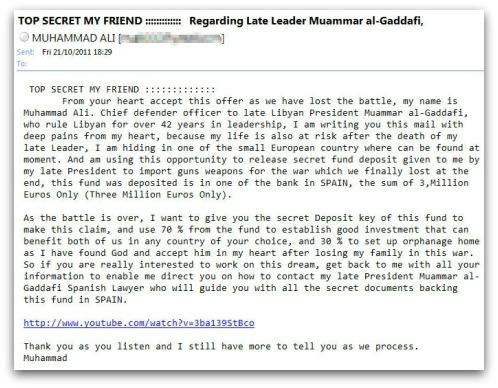 Gaddafi email scam