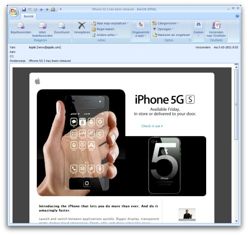 iPhone 5 malicious email
