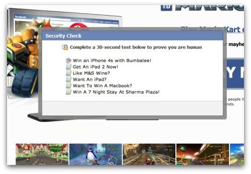 Mario Kart Facebook scam