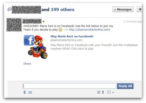 Mario Kart Facebook scam private message