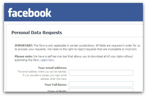 Request your personal data from Facebook