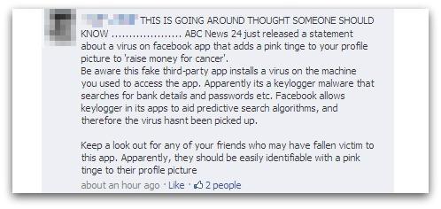Pink Profile Pic virus hoax