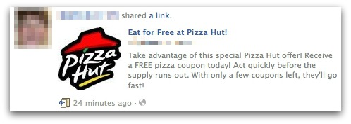Eat for Free at Pizza Hut! Facebook scam
