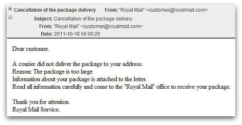 Malware attack posing as Royal Mail email
