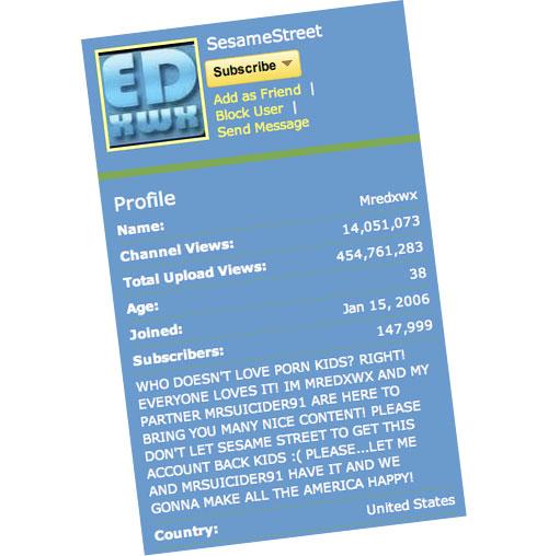 Sesame Street hacked profile