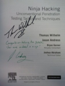 signed copy of Ninja Hacking