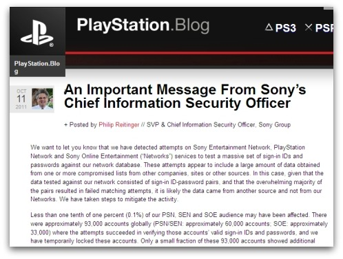 Sony blog entry about security breach