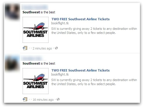 Southwest airlines Facebook scam. SW is currently giving away 2 tickets to any destination within the United States, only to a few select people.