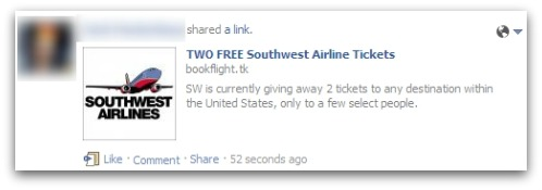 Southwest airlines Facebook scam
