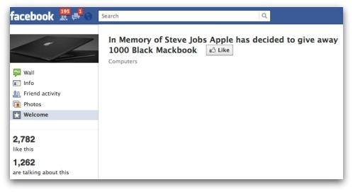 In Memory of Steve Jobs, Apple has decided to give away 1000 Black Macbook