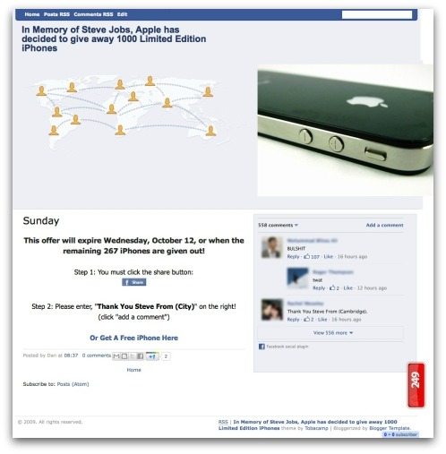 iPhone scam webpage