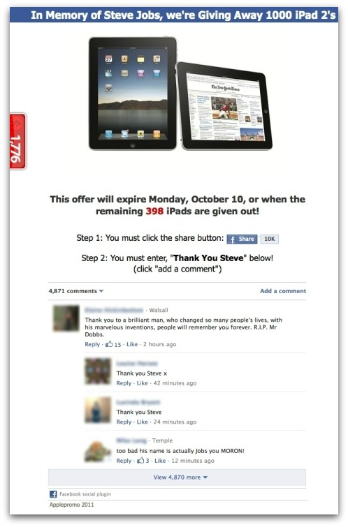 iPad scam offer