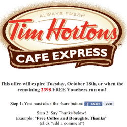 Tim Hortons Facebook scam
