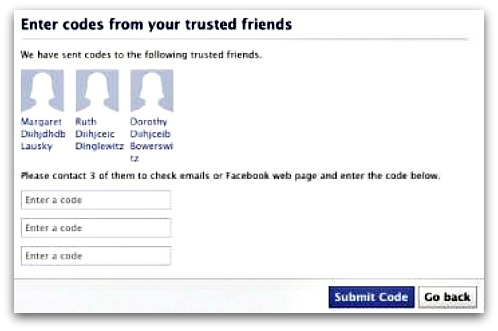 Trusted friends on Facebook