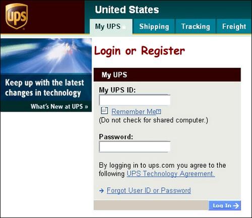 UPS phishing page