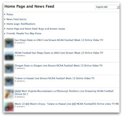 Spam messages in Facebook's help center. Click for larger version