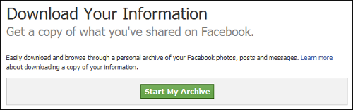 Facebook Download Archive site
